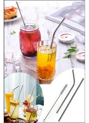 Kitchen Love 2 li Paslanmaz Çelik Pipet + Temizleme Fırçası-2 a Renkli